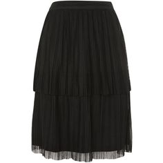 Crinkle Layer Skirt by Lace & Beads (1.005 ARS) ❤ liked on Polyvore featuring skirts, black, pleated skirt, knee length pleated skirt, layered lace skirt, double layer skirt and knee length lace skirt