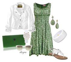 Green & White Floral Print Dress by elayne-forgie on Polyvore featuring Eddie Bauer, Merona, Manumit, Kenneth Jay Lane, Michael Kors, 1928, Monki and green & white floral print dress