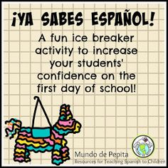 Ice breaker activity for elementary Spanish classroom- help them have confidence right from the start! A great first day activity! Elementary Spanish Classroom, Spanish Classroom Activities, Spanish Teaching Resources, Spanish Language Learning, Spanish Classroom Decor, School Resources, Classroom Ideas, Spanish Lessons For Kids, Spanish Lesson Plans