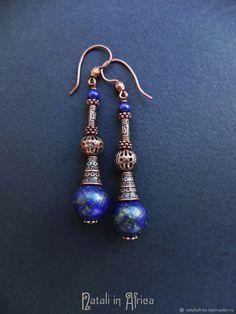 """Купить Серьги """"Египетская ночь"""" - лазурит (II) - синие серьги, темно-синие серьги"""
