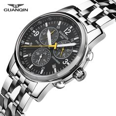 62.39$  Buy now - http://ali3y1.shopchina.info/go.php?t=32803710265 -  2017 Relogio Masculino GUANQIN Mens Watches Top Brand Luxury Automatic Clock men Sport Full Steel 200M waterproof A  #bestbuy