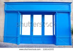 stock photo : Customizable front store. Windows are isolated and it easy for you to add whatever you like behind the windows