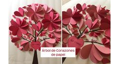 Cómo hacer un árbol de corazones de papel