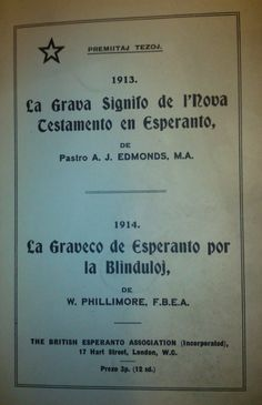 Cover of La Graveco de Esperanto por la Blinduloj by W.Phillimore. - See more at: http://britishlibrary.typepad.co.uk/european/esperanto/#sthash.fnUAmOf0.dpuf