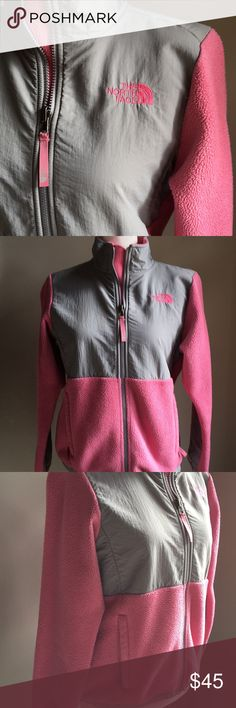 🌼North Face Denali Coat🌼 In excellent preloved condition. Girls North Face Denali coat. Super cute and warm without flaws. Great pink & grey color that'll take her into the spring! Size large (14-16) Girl.It Can also fit women's XS. The North Face Jackets & Coats