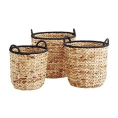 Large Rush Basket Trio (£165) ❤ liked on Polyvore featuring home, home decor, madam stoltz and log home decor