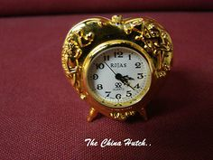 Rojas Collectible Brass Miniature Quartz Novelty Clock Heart with cherubs