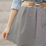 Striped Pleated Knit Skirt Tutorial by Erin || Sewbon | Project | Sewing / Shirts, Tanks, & Tops | Kollabora