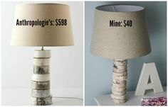 THIS IS AMAZING! Come learn to make your own DIY stacked wood lamp inspired by Anthropologie for only $40!