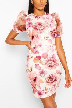 Floral Organza Sleeve Midi Dress | Boohoo UK White Midi Dress, White Floral Dress, Midi Dress With Sleeves, Black Bodycon Dress, Floral Midi Dress, Dress Up, Robes Midi, Fashion Face, Women's Fashion