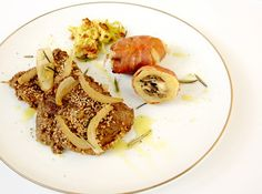 Filetto in crosta di sesamo, patate ripiene e porro fritto