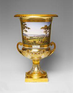 Königliche Porzellanmanufaktur Berlin, The vase ca. 1825/30, the base slightly earlier. TA Berlin KPM porcelain krater-form vase with a view of Potsdam.