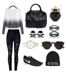 Black and white by aurel-awaloei on Polyvore featuring polyvore, fashion, style, NIKE, Alexander Wang, Eva Fehren, Lucky Brand, Vans, Christian Dior, Aéropostale, women's clothing, women's fashion, women, female, woman, misses and juniors
