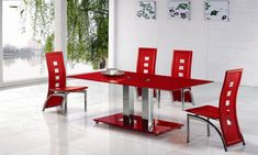 Gallery of all modern dining room sets with stylish finishes design. Get inspiration on modern dining room sets ideas to decorate dining room Cheap Dining Room Chairs, Modern Dining Room Tables, Glass Dining Table, Dining Room Sets, Dining Room Design, Red Kitchen Tables, Small Dining Sets, Contemporary Home Decor, Table Furniture