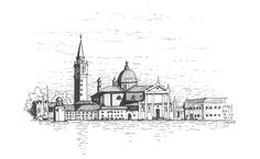 Drawing Venice from one of the empty piers facing to this view   San Giorgio Maggiore, Venezia, Italy 12.07.2015