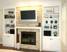 Contemporary Fireplaces With Custom Stone Backsplash