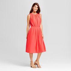 Women's Pleated Dress - Merona Coral Xxl, Bright Coral