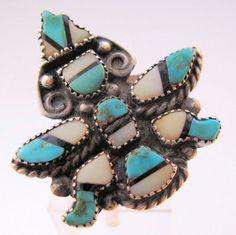 ZUNI Native American Inlaid Turquoise by BrightEyesTreasures, $85.00