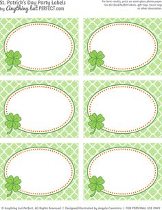 St. Patty's Party Labels: Free Printable