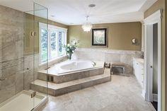 Luxury bathroom in Oakville, Ontario.