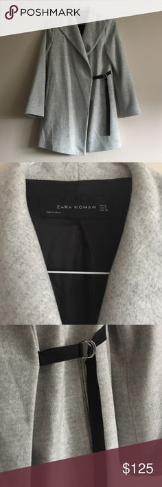 ZARA women's soft heather gray coat Very soft material with silky black interior. Ties with small black belt and optional button. Two front pockets. LIKE NEW!! Zara Jackets & Coats
