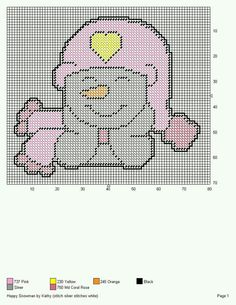 HAPPY SNOWMAN *WEARING PINK HAT WITH A YELLOW HEART ON IT* by KATHY