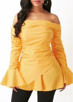 37131e7b787a Off the Shoulder Flare Sleeve Ruched Blouse on sale only US 32.06 now