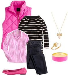 """Pink, stripe and gingham"" by classicprep on Polyvore"