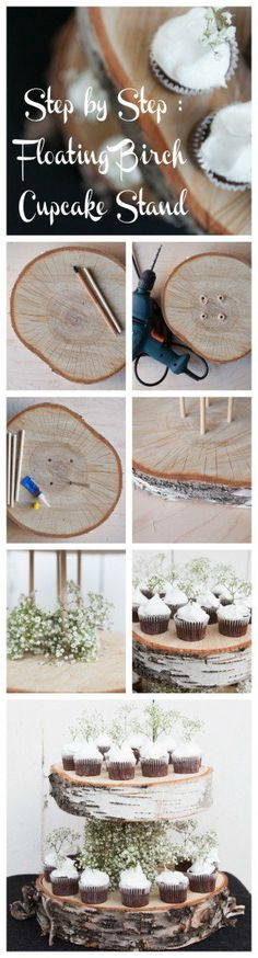 Create this DIY Floating Cupcake Stand for country & barn and woodland weddings easily with our natural wood slabs found here: http://www.lightsforalloccasions.com/nsearch.aspx?keywords=wood%20slab
