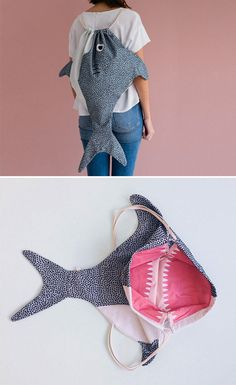 *beach bag for Little D! *add strip of mesh insert at bottom tail edge for sand 'drain' Shark Backpack *beach bag for Little D! *add strip of mesh insert at bottom tail edge for sand 'drain' Shark Backpack Sewing Hacks, Sewing Tutorials, Sewing Crafts, Bag Tutorials, Fish In A Bag, Fish Bags, Bag Patterns To Sew, Sewing Patterns, Tote Pattern