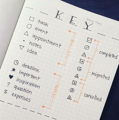 Bullet Journal Key Ideas & Examples Examples of bullet journaling symbols to create the perfect bujo key. Bullet journal symbols, key page ideas, and color coding ideas to try! The cutest bullet journal ideas. Bullet Journal School, Bullet Journal Inspo, Bullet Journal Key Symbols, Bullet Journal Bucket List, Bullet Journal Calendar, Bullet Journal Wishlist, Bullet Journal Banners, Bullet Journal Key Page, Bullet Journal Doodles