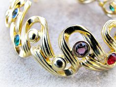 Swan Mark Swarovski Bracelet with Jewel Tone by ToadSuckTreasures