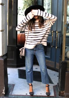 Studs and stripes. Fall clothes for warm climates   Sincerely Jules