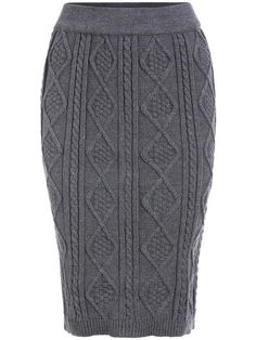 Grey Diamond Patterned Cable Knit Skirt