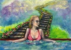 ACEO Original art card 2.5x3.5 surreal nude abstract fantasy women artist signed #Surrealism