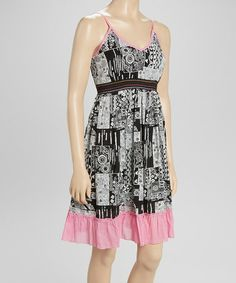 Look what I found on #zulily! Black & Pink Ruffle Dress by Funky People #zulilyfinds