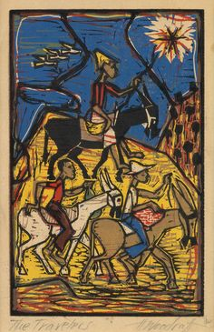 HALE WOODRUFF (1900 - 1980)  The Travelers.   Color linoleum cut on cream wove paper, circa 1935. 203x130 mm; 8x5 1/8 inches, full margins.