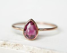 Amethyst Gold Ring Faceted Gemstone Ring Rose Gold by Luxuring