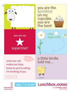 Love these sweet free printable lunchbox notes.  Featured on Coupon Cutting Mom!