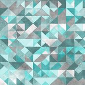 Watercolor Triangles Squares Geometric Mint Green by caja_design