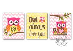 Owls Nursery Art  -  Nursery art Set of 3 - 8X10  Prints - owls -  Pink  and Aqua Nursery Print - Owl Decor for Girl Room