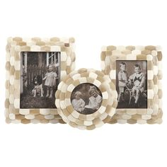 Highlight+cherished+family+memories+in+style+with+this+bone+picture+frame+set,+showcasing+a+mosaic+motif+and+scalloped+edge.+  Produc...
