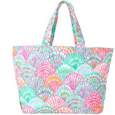 Lilly Pulitzer Beach Tote Bag - Oh Shello ($68) ❤ liked on Polyvore featuring bags, handbags, tote bags, multi oh shello accessories, white purse, beach bag, beach tote, tote purse and handbags totes
