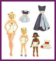 Store Marie, Lille Marie & Sorte Marie paper dolls / Gerda Vinding, Danish artist, 1921-1987