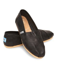Look what I found on #zulily! Black Metallic Faux Leather Classics by TOMS #zulilyfinds