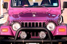 oooh my!!  I need a pink jeep with eyelashes!!