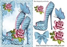 Pretty blue polkadot shoes with roses A5 on Craftsuprint - View Now!
