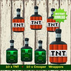 Minecraft TNT and Creeper Popper Labels - Minecraft Party - Instant Download
