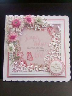 Card Making Designs, Card Making Tutorials, Card Making Techniques, Making Ideas, Handmade Birthday Cards, Happy Birthday Cards, Tattered Lace Cards, Shabby, Beautiful Handmade Cards