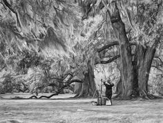Art Lesson In City Park New Orleans Bw.  City Park in the heart of New Orleans is a grand place to absorb the beauty of the ancient live oaks draped in Spanish moss. What better place to have an art lesson. This grove beside the lagoon has massive trees dating from the time of Columbus. With its numerous lagoons and peaceful feel, it is a most magical place! B&W version.